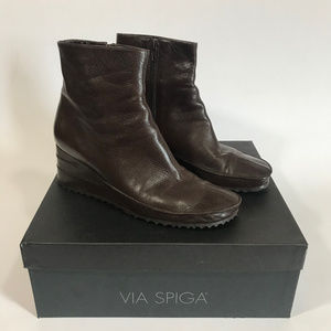 Via Spiga Brown Leather Wedge Boots
